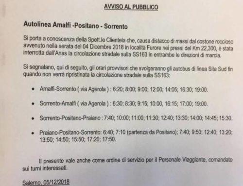 Sita Sud: Orari Provvisori. Avviso trasporto urbano Amalfi – Positano – Sorrento