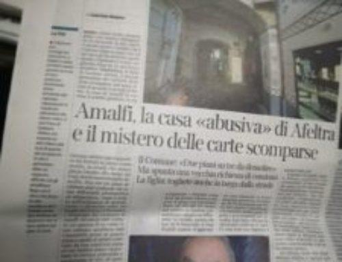Amalfi. Opere abusive nel fabbricato del giornalista Gaetano Afeltra, emessa ordinanza di demolizione. Il Corriere parla di misteri
