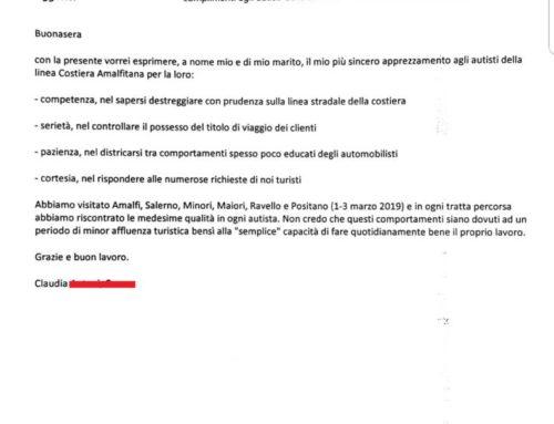 Costiera Amalfitana: La lettera di due coniugi agli autisti della Sita Sud
