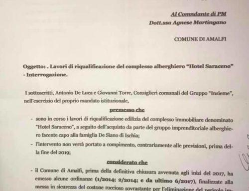 Amalfi: Hotel Saraceno. Fatti i lavori per la sicurezza? L'interrogazione di Antonio de Luca