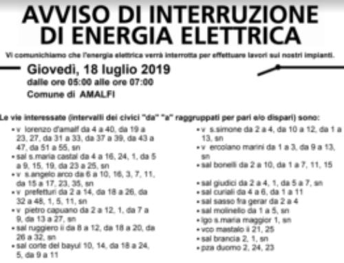 Amalfi, giovedì lavori Enel: diverse zone senza elettricità