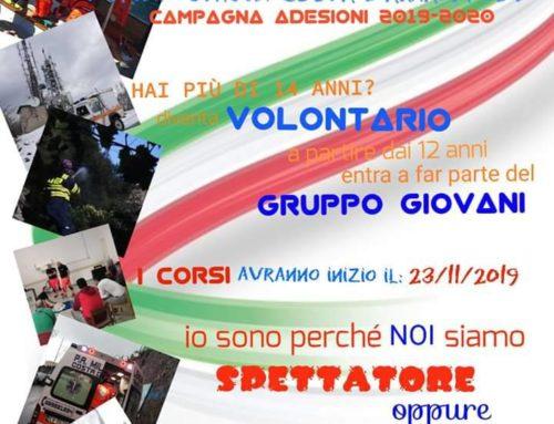 "Pubblica Assistenza MILLENIUM ""Costa d'Amalfi"" – Campagna adesione Volontari 2019 /2020"