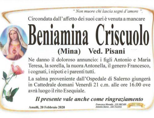 Amalfi piange la scomparsa di Beniamina Criscuolo (Mina), vedova Pisani
