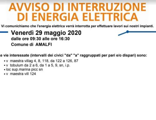 Amalfi. Interruzione energia elettrica prevista per venerdì 29 maggio