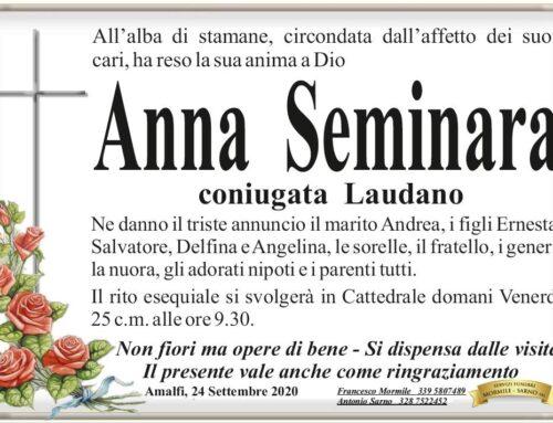 Amalfi in cordoglio per Anna Seminara, coniugata Laudano