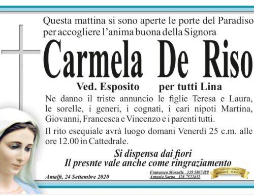"""Amalfi: è venuta a mancare Carmela """"Lina"""" De Riso, vedova Esposito"""