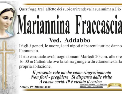 Amalfi. Ci ha lasciati oggi Mariannina Fraccascia, vedova Addabbo