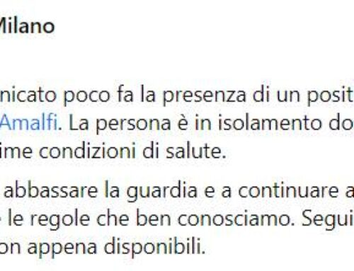 Amalfi, il sindaco Milano annuncia un nuovo caso di covid-19