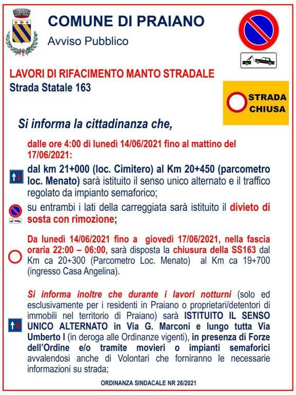Praiano: lavori di rifacimento del manto stradale dal 14 al 17 giugno