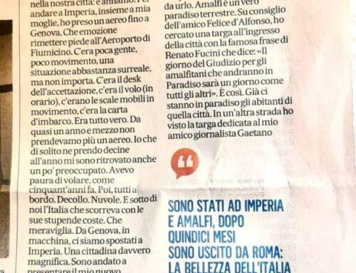 Enrico Vanzina sul Messaggero parla di Amalfi: «Sopralluoghi di un film che forse gireremo qui. Un vero paradiso terrestre»