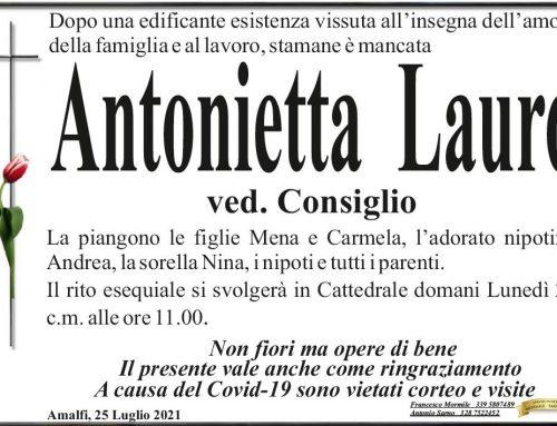 Amalfi: è mancata Antonietta Lauro, vedova Consiglio